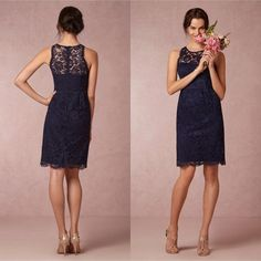 Wholesale 2015 New Sheath Bridesmaid Dresses Formal Gown With Sheer Neckline Custom Made Hollow Back Lace Sash Navy Blue Short, Free shipping, $80.11/Piece   DHgate Mobile