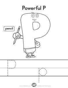 Letter Buddies Coloring Worksheet: P