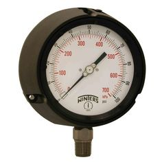 PPC Series 4.5 in. Black Phenolic Case Process Pressure Gauge with 1/2 in. NPT LM and Range of 0-100 psi/kPa