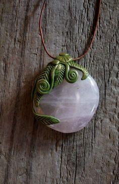 Rose Quartz Pendant Necklace by TRaewyn on Etsy, $65.00