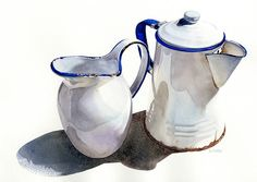 "Tia Wallace Kratter ""Two Pours"" Watercolor, 10.5"" x 15.5"""