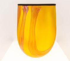 Grant Donaldson Glass art Orange Swirl Vase home decor talent australian art