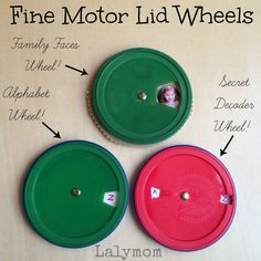 Fine Motor Skills Lid Wheel Toys from Lalymom - Includes a tutorial for a turning wheel, called a volvelle. So versatile- use it to learn letters, as a secret decoder or a personalized family faces photo wheel!