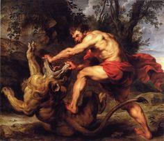 Samson broyant les machoires du lion - Rubens