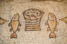 Ancient mosaic at The Church of the Loaves and Fish