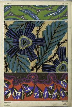 Bouquets et frondaisons by EA Séguy. [1. Foliage; 2. Flowers and foliage; 3. Foliage] Pl. 20