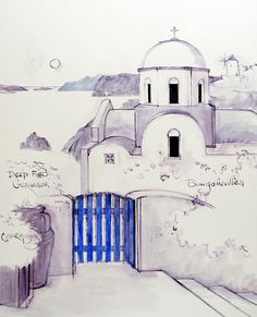 Santorini, Greece is one of my favorite places to paint. Joan lived in Greece for several years and wanted to capture the memories of that wonderful chapter in her life. She saw Santorini Sunset on… Pencil Drawing Pictures, Watercolor Pictures, Pen And Watercolor, Pictures To Draw, Watercolor Paintings, Greece Drawing, Greece Painting, Painting Lessons, Art Lessons