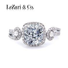 Style E5017 - Cushion Halo Diamond Engagement Ring semi mount, swirl band, pave set diamonds in 18K White Gold - LeZari & Co.