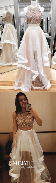 Two Piece Prom Dresses Long,Modest Formal Evening Dresses A-line,White Pageant Graduation Dresses with Beading,Tulle Wedding Party Dresses Cheap Prom Dresses Long Modest, Simple Prom Dress, Formal Dresses For Teens, Best Prom Dresses, Elegant Prom Dresses, Long Prom Gowns, Tulle Prom Dress, Formal Evening Dresses, Pageant Dresses