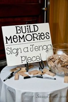 A fun way to remember your wedding day & guests—every time you play the game, you can read comments (well wishes) from your guests—Jenga • Wedding Guestbook❣ You could have guests write something specific—like a funny memory of the bride, groom or both; a prediction for the future; a tip for how to have a long happy marriage; etc—if playing Jenga with friends, it would be a great conversation starter❣ Sassy Dealz
