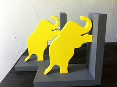 Pair of Yellow & Grey Gray Elephant Bookends  by ProfessorFinley