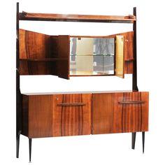 Italian Mid-Century Modern Rosewood Cupboard with Dry Bar Modern Bar Cabinet, Modern Sideboard, Modern Cabinets, Wall Desk, Cupboard, Mid-century Modern, Mid Century, Storage, Interior