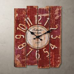 """Antique Clock Wall  Vintage Wooden style French Country Rectangular 15"""" Large"""