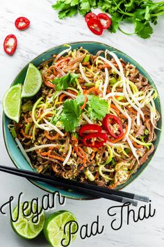 Forget takeout! This Vegan Pad Thai Salad is a lighter, gluten-free alternative to the popular Thai dish. #Pad Thai #vegan #Food #recipe #Thai #gluten-free Vegetarian Pasta Recipes, Delicious Vegan Recipes, Veggie Recipes, Asian Recipes, Dinner Recipes, Ethnic Recipes, Vegan Pasta, Lunch Recipes, Breakfast Recipes