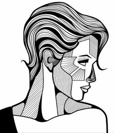 Easy Drawings Illustration by Outline Drawings, Art Drawings Sketches Simple, Pencil Art Drawings, Easy Drawings, Geometric Drawing, Geometric Art, Easy Portrait Drawing, Arte Peculiar, Composition Art
