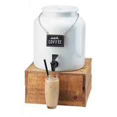 White Porcelain Beverage Dispenser Item: 3460-1BEV (1.5 Gallon Dispenser) 432-6-99 (Base). Serve your drinks in style with this dazzling white porcelain beverage dispenser. This dispenser includes a beverage chalkboard sign which is perfect to label your beverages for your guests!