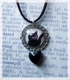 Black Cat Necklace, Black Cat Jewellery, Cat Gifts, Gothic Cat Pendant, Cabochon Jewellery, Cat Accessories, Black Cats, Cat Lover Jewellery by HelenFaerieArt on Etsy