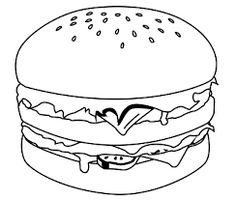 Food Hamburger   food coloring pages   Pinterest ...
