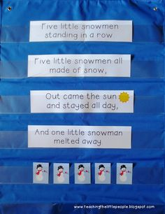 5 Little Snowmen pocket chart-Making Interactive Pocket Chart Songs and Poems Easier to Use