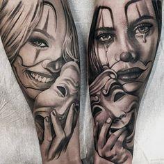 60 Drama Mask Tattoo Designs for Men - Theater Ink Ideas - Tatoo - Tatuagens Ideias Chicano Tattoos, Art Chicano, Body Art Tattoos, Gangsta Tattoos, Tattoo Girls, Girl Tattoos, Girl Face Tattoo, Catrina Tattoo, Clown Tattoo