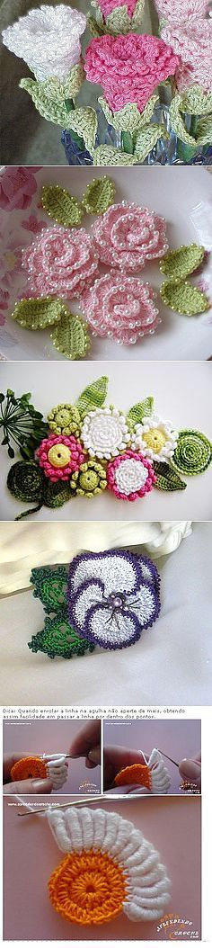 Flores de ganchillo Find and save knitting and crochet schemas simple recipes and other ideas collected with love Crochet Hearts Flower Crochet Crocheted Flower Crochet Flower Tutorial, Crochet Flower Patterns, Crochet Designs, Crochet Motifs, Form Crochet, Knit Crochet, Crochet Crafts, Crochet Projects, Knitted Flowers