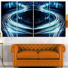 DesignArt 'Blue Light Trails' 4 Piece Graphic Art on Wrapped Canvas Set