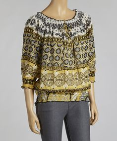 Look at this #zulilyfind! Taupe & Gold Arabesque Chiffon Peasant Top #zulilyfinds