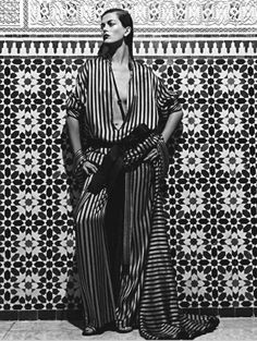 Marrakesh Editorial Shot! Outfit inspiration- black and white…stack those bracelets high!