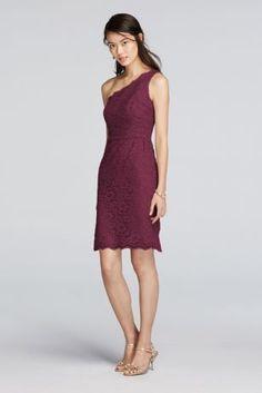 David's Bridal - Short One Shoulder Lace Dress - Wine ($140)