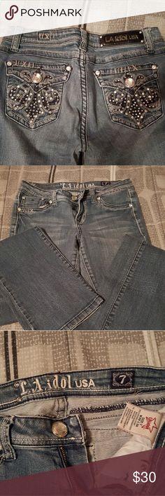 LA Idol jeans Rhinestones everywhere. Super cute and blingy. LA Idol Jeans