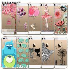 Para iphone 5s 5 se funda de silicona fantasía animal flower pintura Transparente Clara Suave TPU Contraportadas Teléfono Celular Funda Coque(China (Mainland))