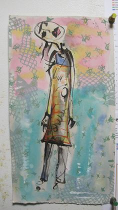 Frances Crum  FCRUM  with watercolor and screenprint