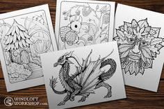 New downloadable and printable coloring pages are available at Windloft Workshop's Etsy store!