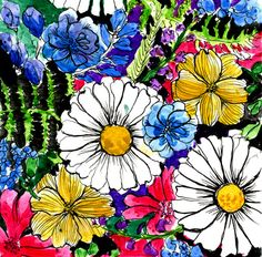 daisies Stretched Canvas  alisa burke  (designs and colorings)