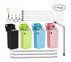 Folding Stainless Steel Portable Silicone Drinking Straw with Hard Case Clean Brushes for Home Office Travel 3 Pack Reusable Collapsible Straw Set