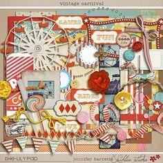 Vintage Carnival - Digital Scrapbooking Kit for Fairs, Festivals INSTANT DOWNLOAD. $7.99, via Etsy.