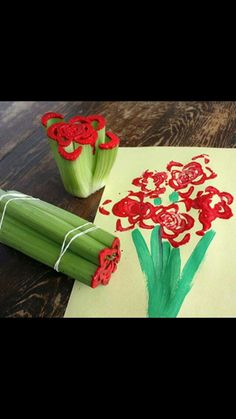 Use celery,paper,string,and paint its easy and fun.