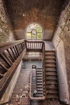 Architecture with, Photographs of Abandoned Buildings. To see more art and information about Christian Richter click the image. Old Abandoned Buildings, Abandoned Mansions, Old Buildings, Abandoned Places, Stairway To Heaven, Beautiful Buildings, Beautiful Places, Urban Decay Photography, Building Stairs