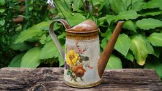 Watering can,decoupage watering can, shabby chic style, metal watering can, floral gift, handmade watering, OOAK , galvanized watering