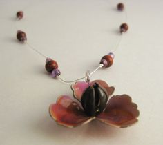 Repurposed Jewelry Flower Pendant Necklace by JGallowayDesigns, $20.00