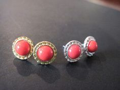 Coral and Silver Stud Earings/ /Bridesmaid Jewelry/ by KVEdesigns, $12.00