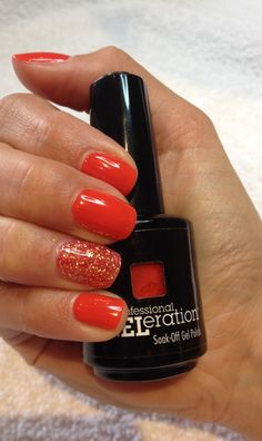 Jessica GELeration gel in Confident Coral with an accent of sunshine ☀️ at TLC Beauty Therapy