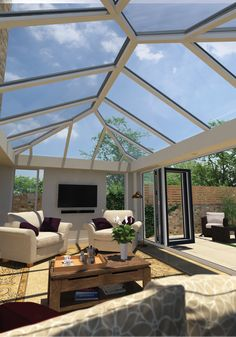 The Ultrasky Roof has deep aluminium undercladdings filled with insulation so your conservatory, orangery or home extension stays warm in the Winter and cool in the Summer. Conservatory Interiors, Conservatory Design, Home Room Design, Dream Home Design, House Design, Garden Room Extensions, House Extensions, Küchen Design, Patio Design