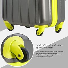 Amazon.com | Merax Travelhouse 3 Piece Spinner Luggage Set with TSA Lock (Black & Yellowish Green) | Luggage Sets