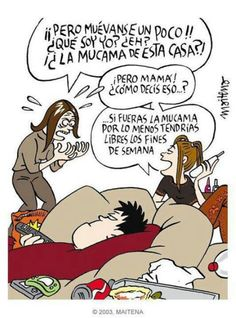 #humor #hogar #adolescentes #mamá #Maitena Mal Humor, Wtf Funny, Spanish Quotes, Cartoon, Peanuts Comics, Lol, Funny Quotes, Ideas, Thoughts