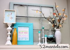 easter mantel2 {I like the elements of this to change out easily for all the holidays.}