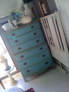 Hand distressed shabby chic blue dresser ~ ♥