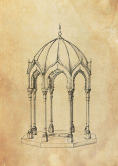 Joachim Tantau - Moroccan Pavilion with Muqarnas Dome. Perspective Drawing Lessons, Perspective Sketch, Mosque Architecture, Architecture Drawings, Art Sketches, Art Drawings, Pencil Drawings, Celtic Art, Celtic Dragon