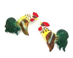 SOLD - Rooster Wall Pockets KasugaWare Ceramic Japan by AtticDustAntiques