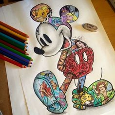 A bunch of Disney characters inside of the original one, Mickey. So cute!